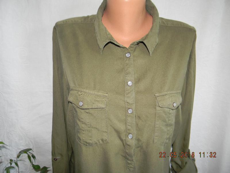 Новое джинсовое платье рубашка цвета хаки papaya - Фото 3