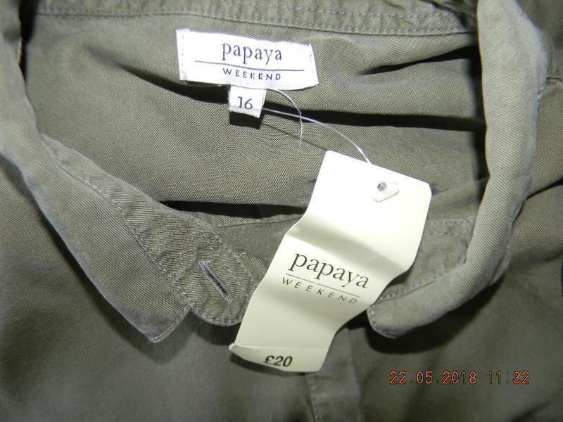 Новое джинсовое платье рубашка цвета хаки papaya - Фото 4