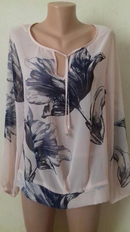 Нежная шифоновая блуза с принтом