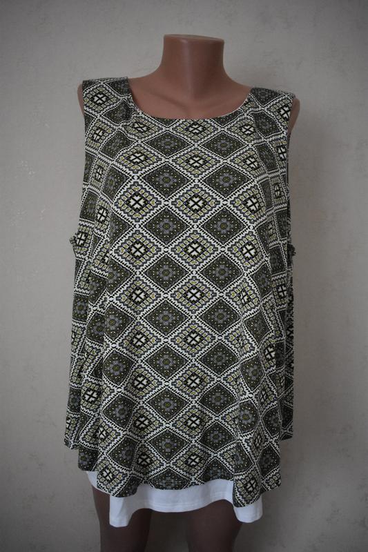 Красивая новая трикотажная блуза с принтом большого размера