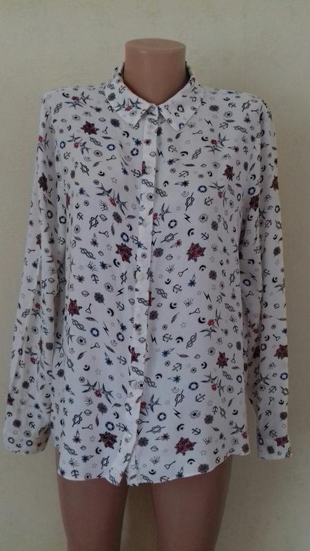 Натуральная блуза-рубашка с принтом marks & spencer