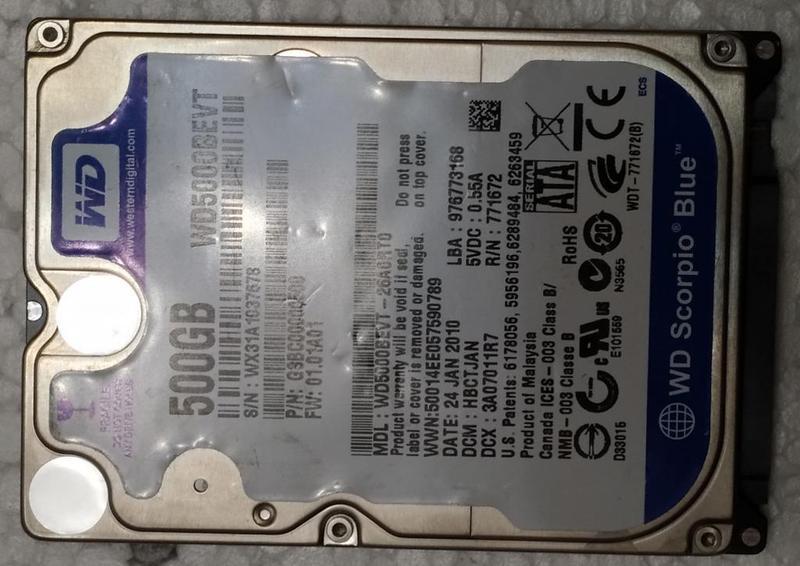 Жесткий диск ноутбука HDD SATA2 2.5 500GB WD б/у (WX31A1037678)