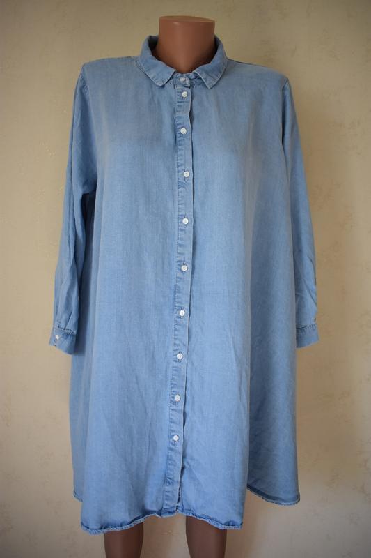 Джинсовое платье-туника большого размера