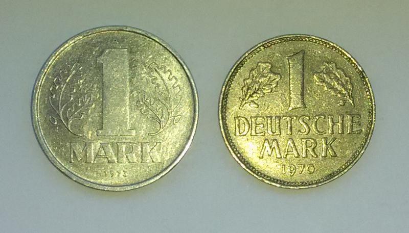 1 марка 1973 г 1970 г ГДР ФРГ