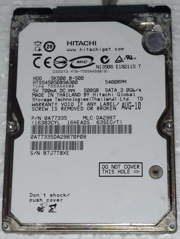 Жесткий диск ноутбука HDD SATA2 2.5 500GB HITACHI б/у (B7J7TBXE)
