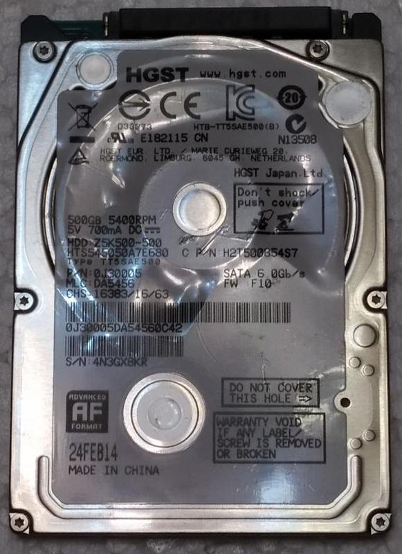 Жесткий диск ноутбука HDD SATA2 2.5 500GB HITACHI б/у (4N3GX8KR)