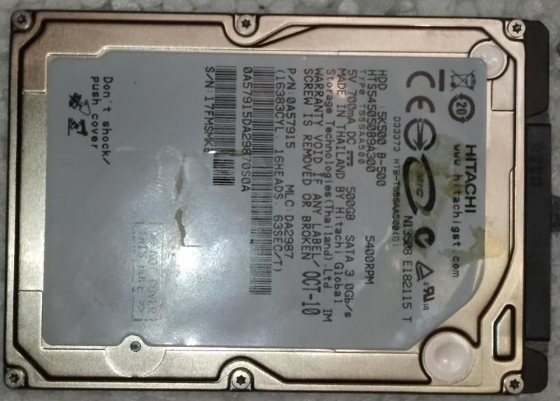 Жесткий диск ноутбука HDD SATA2 2.5 500GB HITACHI б/у (17FMSMKE)