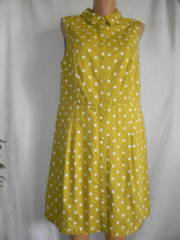 Котоновое платье рубашка в горошек