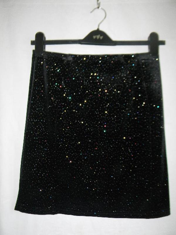Новая велюровая юбка с блеском