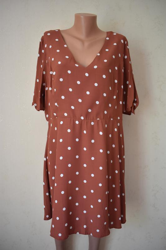 Новое вискозное платье в горошек большого размера