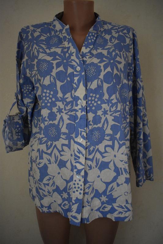 Льняная блуза-рубашка с принтом