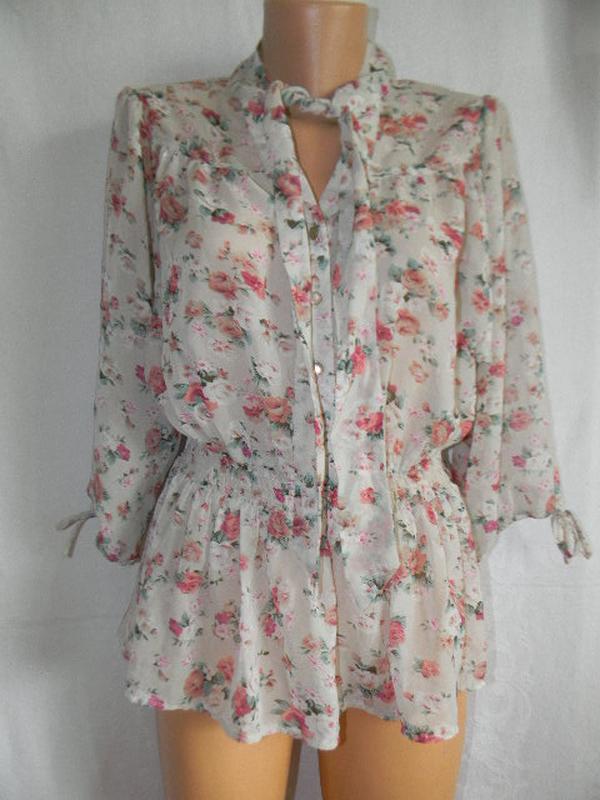 Шифоновая блуз с цветочным принтом