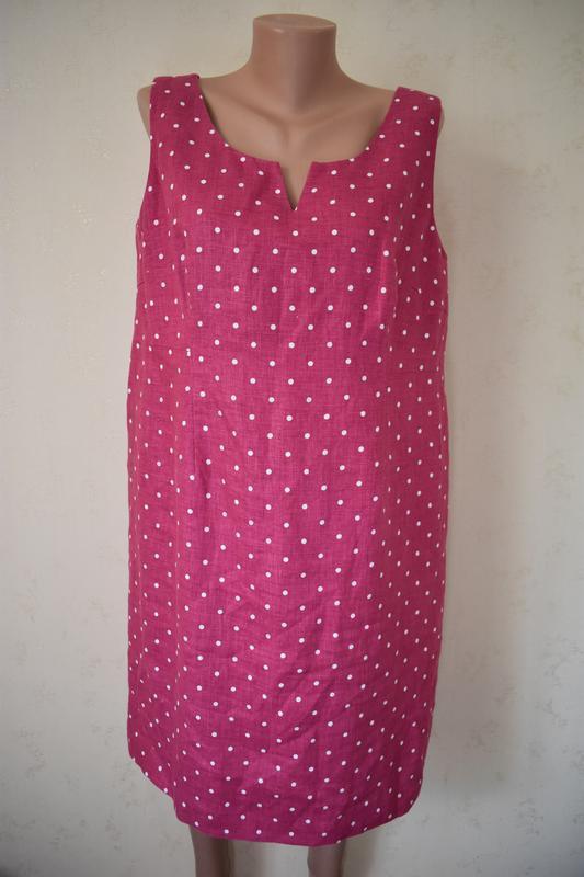 Льняное платье футляр в горошек большого размера