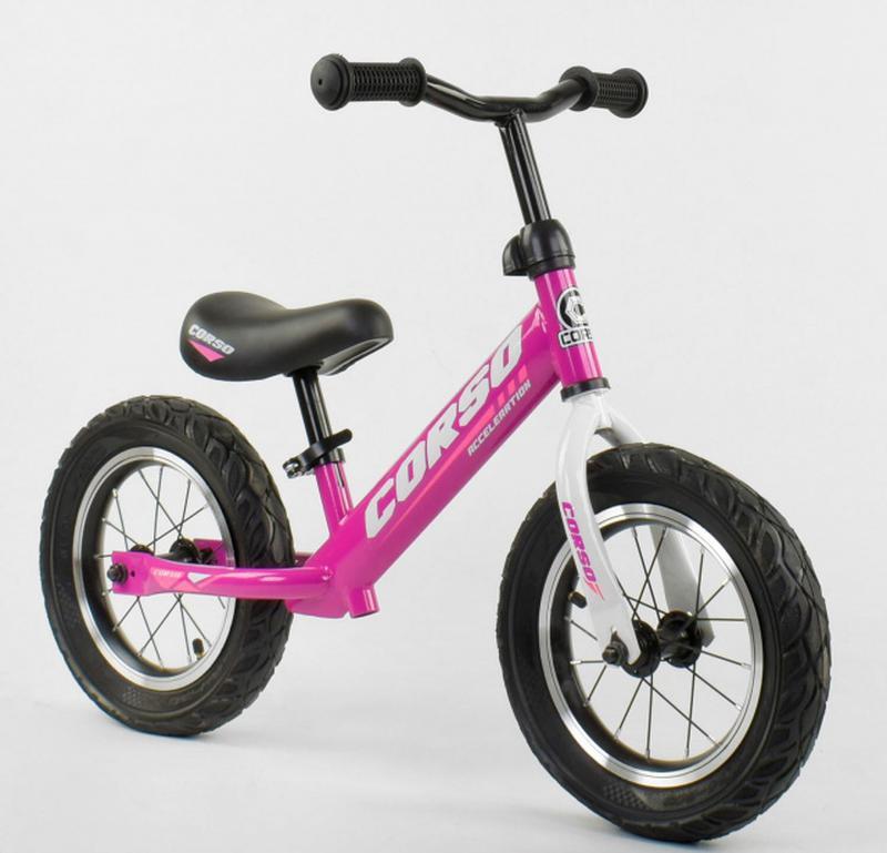 Беговел, велобег CORSO 54307 стальная рама, колесо 12« надувные к