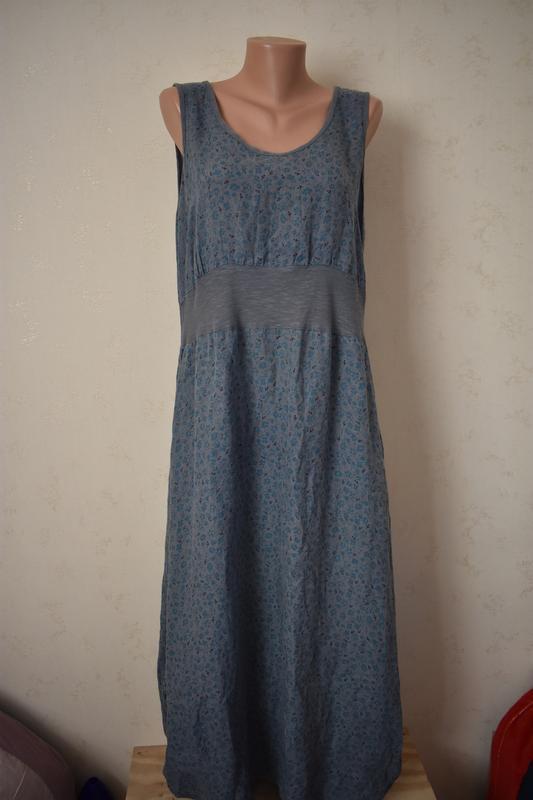 Льняное длинное платье с принтом