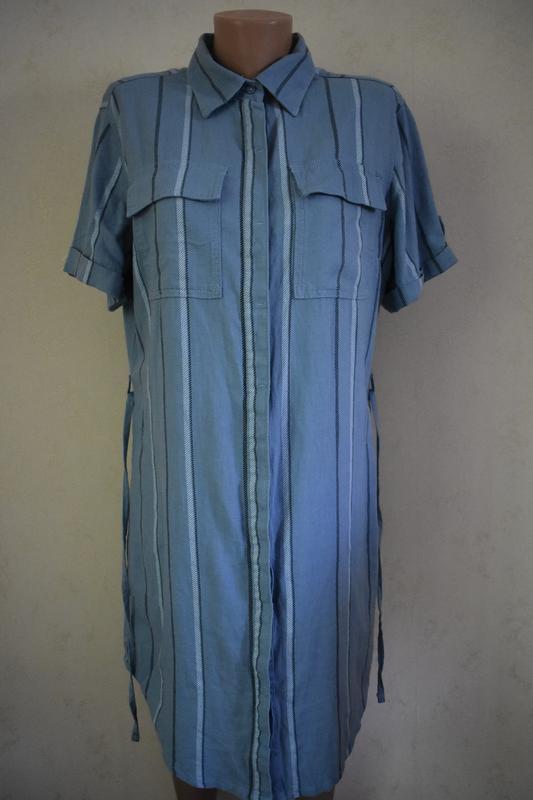Новое льняное платье-рубашка