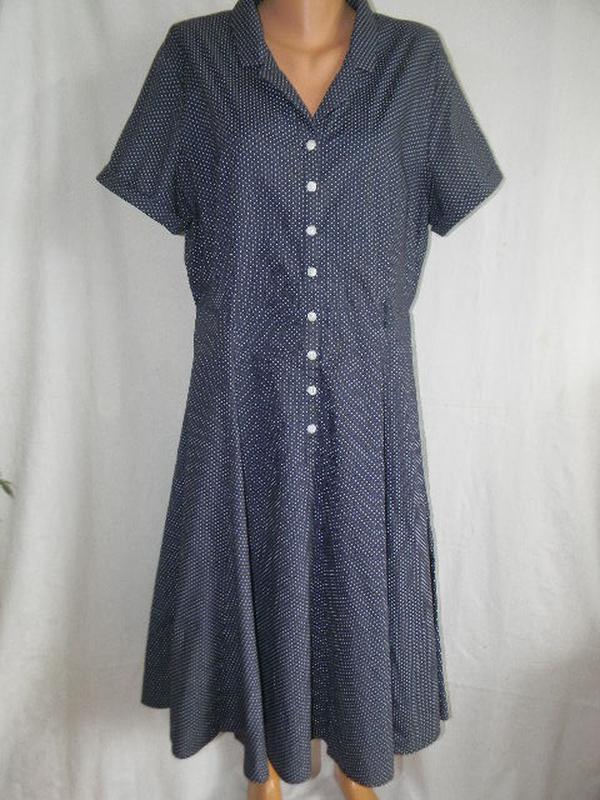 Натуральное платье в горошек большого размера