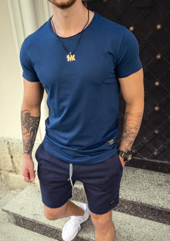 Футболка мужская приталенная- темно-синий цвет