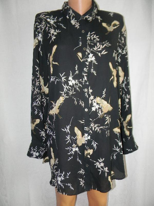 Новая шифоновая блуза с принтом птицы