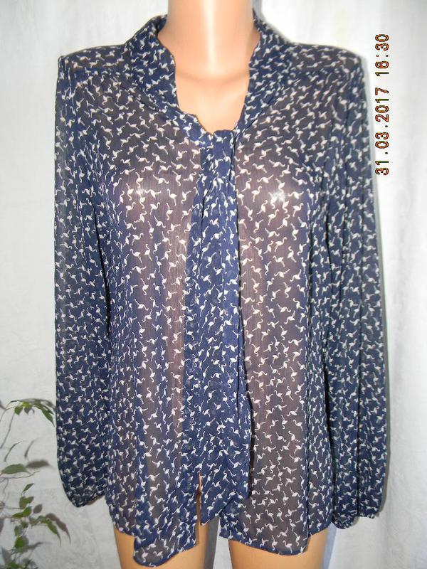 Шифоновая блуза с принтом фламинго