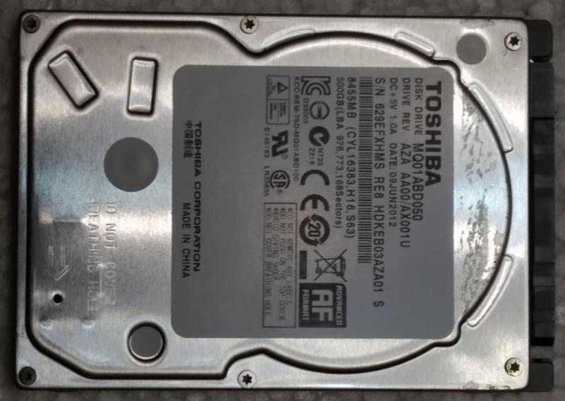 Жесткий диск ноутбука HDD SATA2 2.5 500GB TOSHIBA б/у (629EFXHMS)
