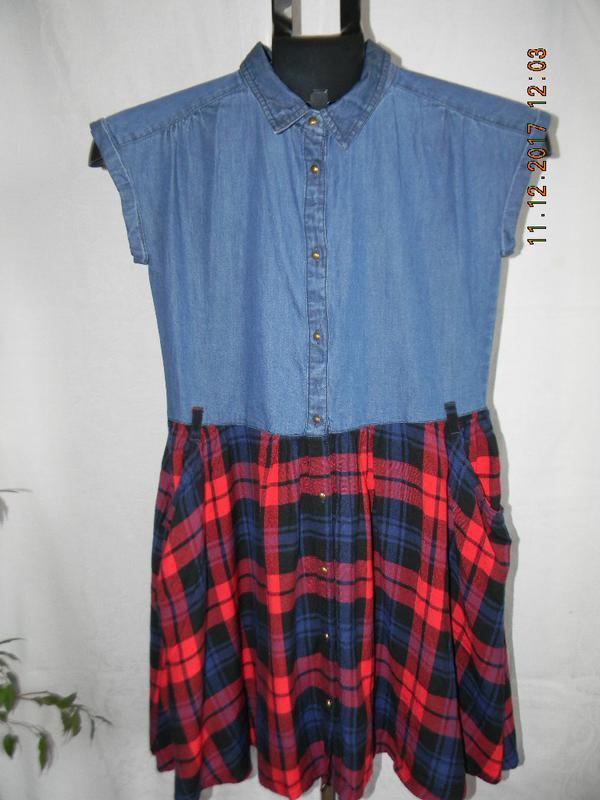 Новое комбинированое джинсовое платье в клетку