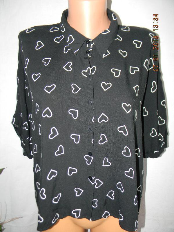 Натуральная блуза с принтом сердечки