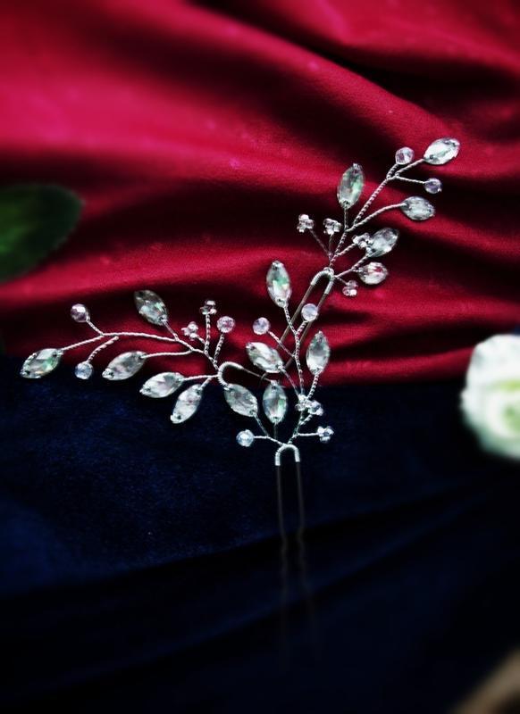 Три шпильки-заколки-украшение для волос в серебристых тонах -б...