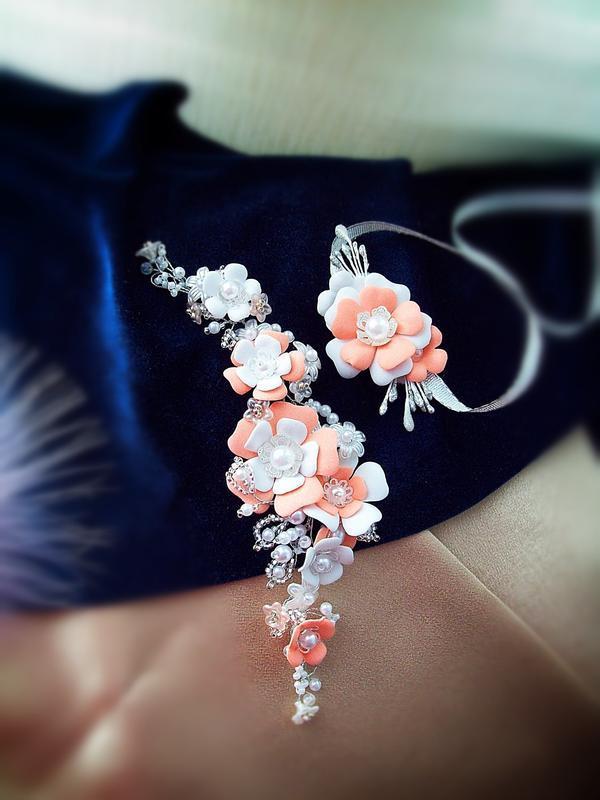 Бело-персиковая веточка и бутоньерка для девочки- бесплатная д... - Фото 3