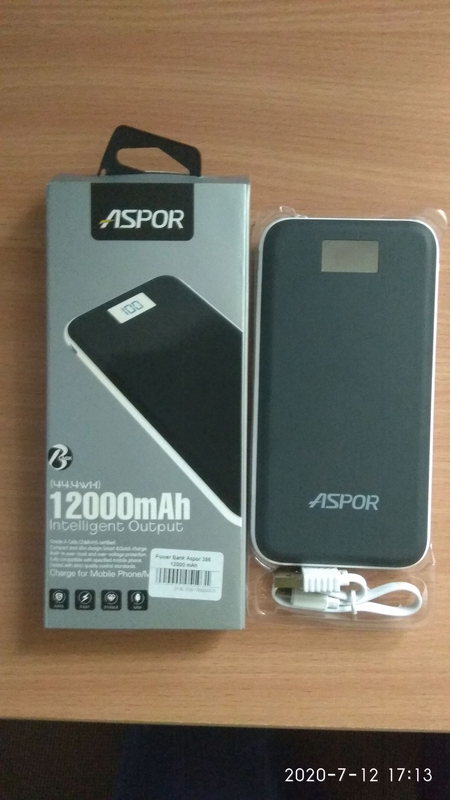 Power Bank Aspor A386 12000mAh, 1A/2.4А Soft Touch
