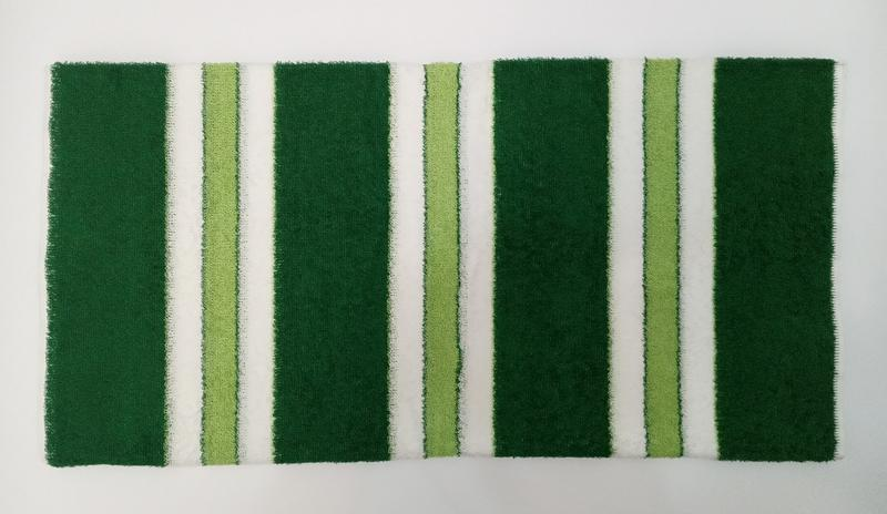 Махровое полотенце 100*50 зеленое с белым - Фото 4