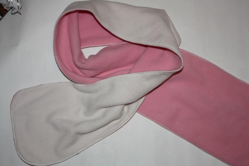 Флисовый белый двойной шарфик в отличном состоянии