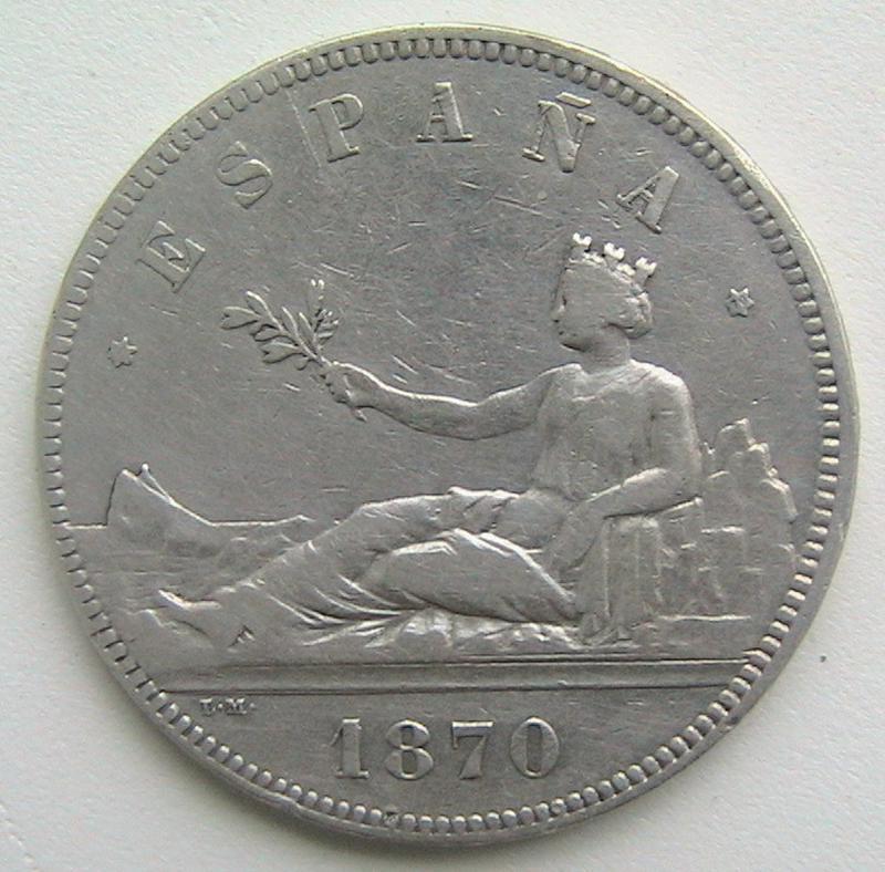 Испания 5 песет 1870 Серебро Временное правительство