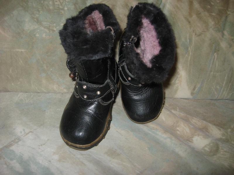 Зимние кожаные сапожки р-25в хорошем состоянии