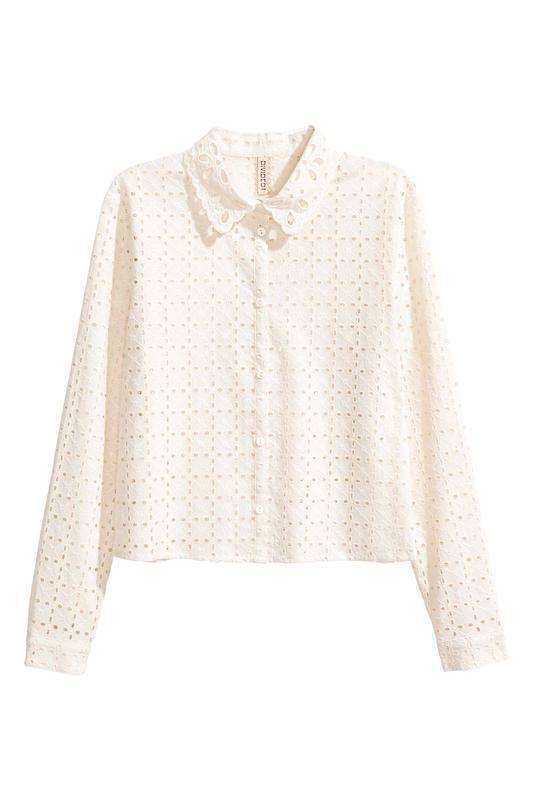 Новая блуза с кружевной перфорацией h&m молочного цвета - Фото 2