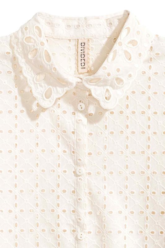 Новая блуза с кружевной перфорацией h&m молочного цвета - Фото 3
