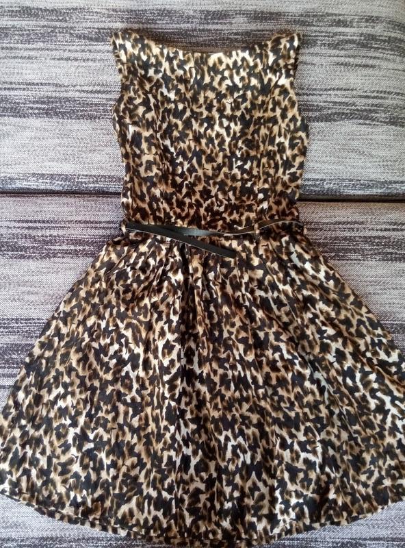 Платье с поясом, в бабочки - Фото 4