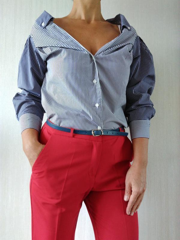 Новая рубашка в полоску h&m - Фото 2