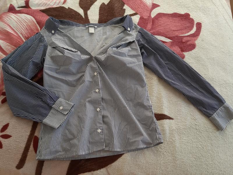 Новая рубашка в полоску h&m - Фото 5