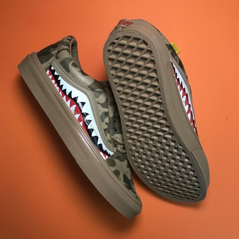 Мужские кожаные кроссовки vans old skool green camo. - Фото 3