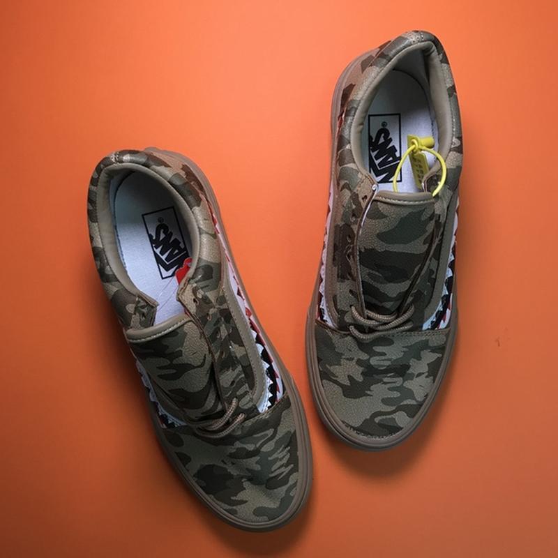 Мужские кожаные кроссовки vans old skool green camo. - Фото 4
