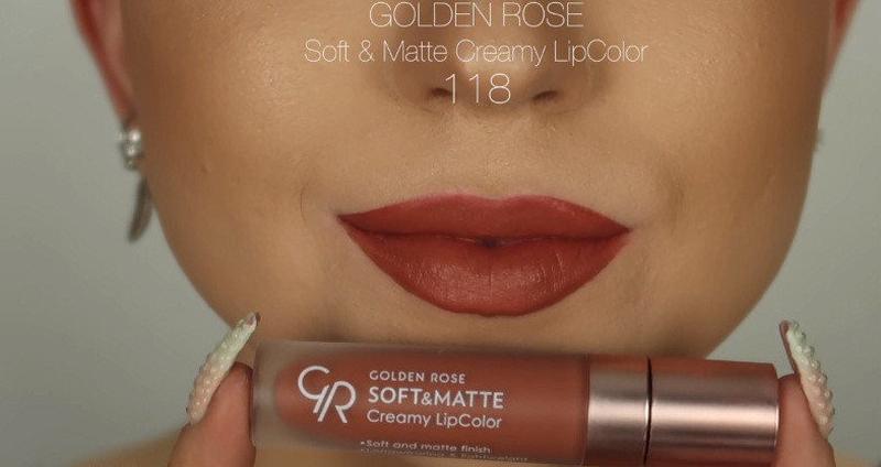 Матовая кремовая помада golden rose soft & matte creamy lipcol... - Фото 2