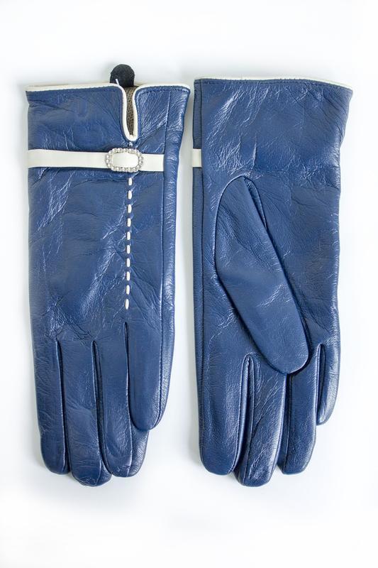 Женские кожаные перчатки синие