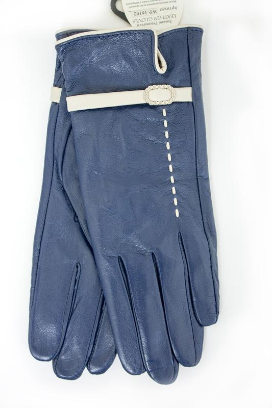 Женские кожаные перчатки синие - Фото 2