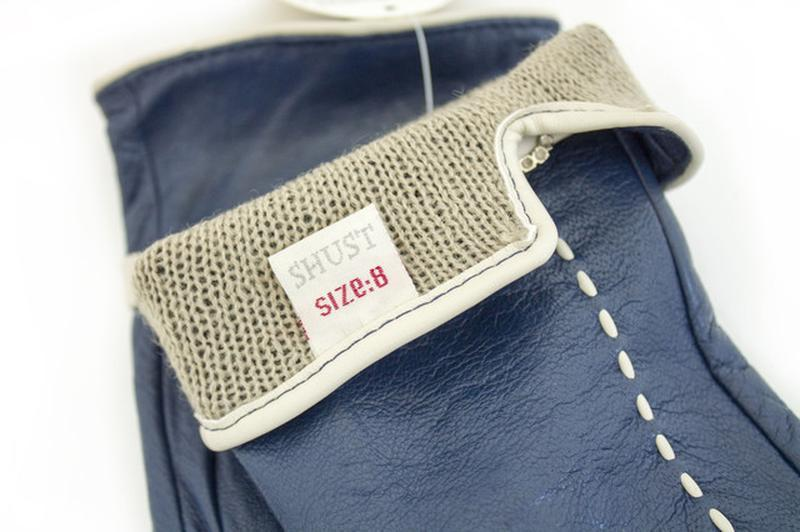 Женские кожаные перчатки синие - Фото 3