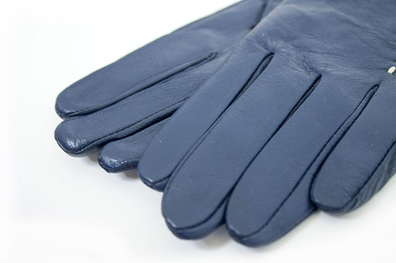 Женские кожаные перчатки синие - Фото 4
