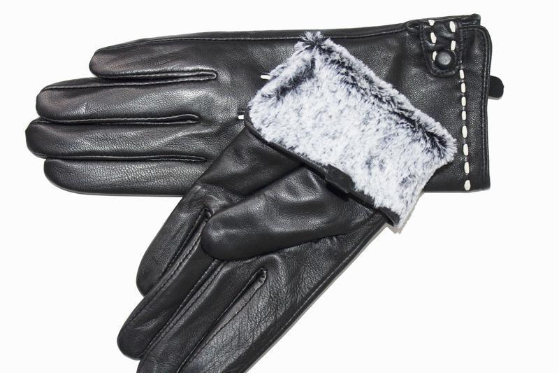 Женские кожаные перчатки сенсорные - Фото 3
