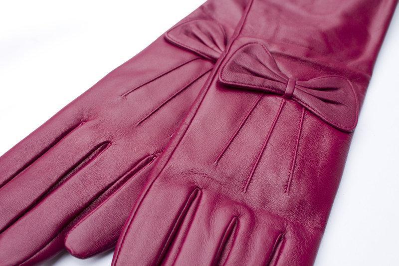 Женские кожаные перчатки 34см - Фото 2