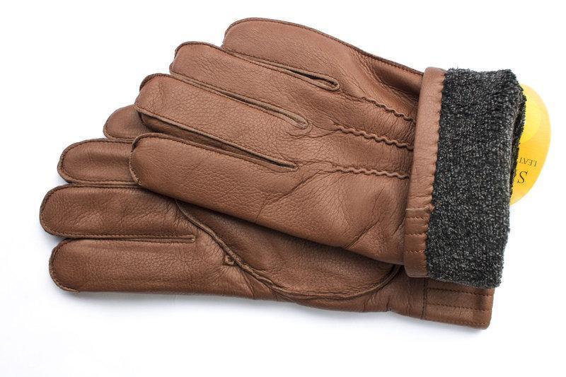 Кожаные мужские перчатки - Фото 3