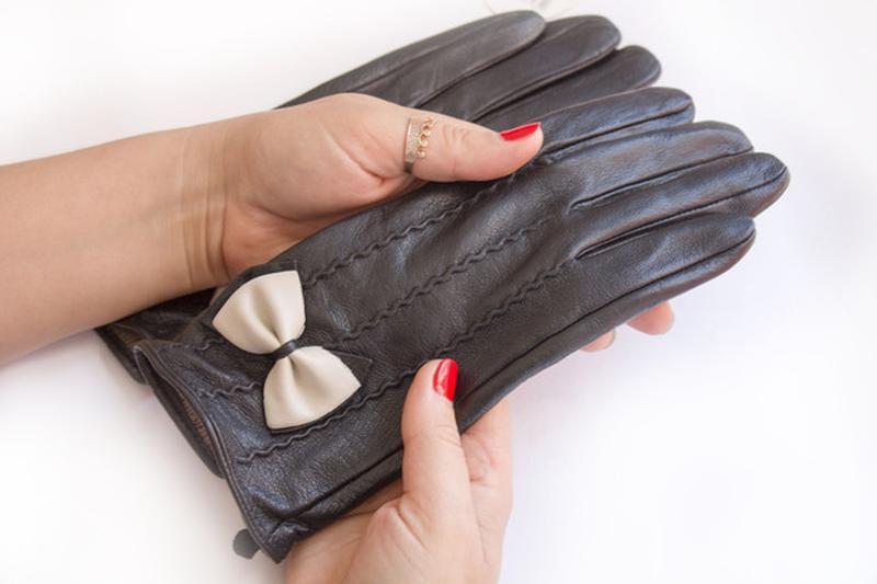 Женские кожаные перчатки - Фото 2